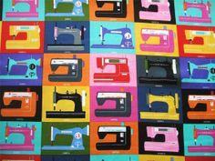 Timeless Treasures Retro Sewing Machines Block Sew Novelty Fabric Yard