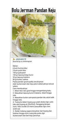 Bolu Jerman Pandan Keju Donut Recipes, Baking Recipes, Cake Recipes, Snack Recipes, Dessert Recipes, Asian Desserts, Sweet Desserts, Bolu Cake, Pandan Cake