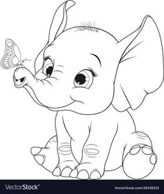 Funny kid elephant Royalty Free Vector Image - VectorStock - Funny kid elephant Royalty Free Vector Image – VectorStock La mejor imagen sobre healthy dinner r - Cute Coloring Pages, Cartoon Coloring Pages, Disney Coloring Pages, Animal Coloring Pages, Coloring Books, Coloring Sheets, Colouring, Art Drawings Sketches, Disney Drawings