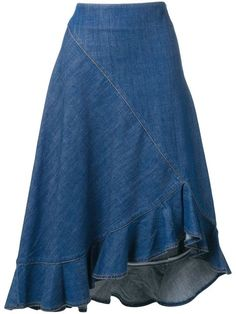Shop online blue Kenzo denim ruffled skirt as well as new season, new arrivals daily. Phenomenal luxury selection, get it now with quick Global Shipping or Click & Collect orders. Skirt Midi, Ruffle Skirt, Dress Skirt, Looks Adidas, Denim Fashion, Fashion Outfits, Denim Skirt Outfits, Asymmetrical Skirt, Jean Skirt