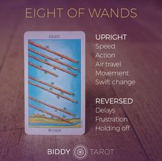 """""""With eight wands hurtling through the air, you know that this week is going to be about movement – fast movement. It may seem as if everything you're involved in is in over-drive – relationships, work, thought processes, ideas, you name it. There's no sl"""