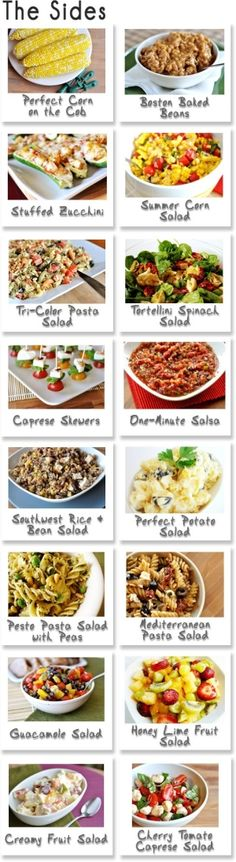 """Summer Cookout recipes- sides, bbq meats, drinks, and dessert recipes. """"BBQ Make-A-Menu collages for your menu planning pleasure. Summer Recipes, Great Recipes, Favorite Recipes, Recipe Ideas, Summer Ideas, Amazing Recipes, Delicious Recipes, Easy Recipes, Healthy Recipes"""