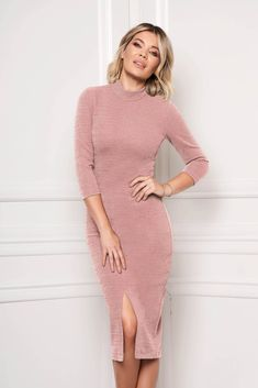 Daily Dress, Product Label, Dress Cuts, High Neck Dress, Elegant, Sleeves, Model, Pink, Dresses