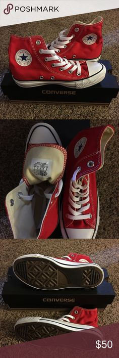 Converse Chuck Taylor All Star Hi Top, Sz 5, Red 100% authentic and brand new in box.  The versatile, classic lace-up Converse All Star sneaker never goes out of style, with signature rubber cap toe, canvas upper, textile lining, and rubber sole. Converse Shoes Sneakers