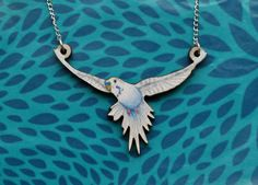Flying Blue Budgie Necklace - Illustrated Wooden Jewellery