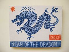 Year of The Dragon, linocut print on canvas on Etsy, $45.00