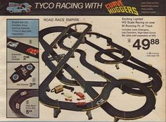 1976 Tyco HO Scale racing slot cars. We spent many fun hours setting this track up, racing cars, and figuring out why one car might not be working at any given moment.