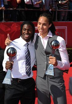 Robert Griffin III and Britney Griner.  Two of the greatest athletes ever produced by the University of Baylor. Showing off their 2012 ESPY awards.