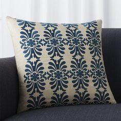 Dipping into Britain's rich textile history, designer Suki Cheema brings an elegant motif up to date in our Colletta pillow. Computer embroidery captures each flourish in amazing detail. Our decorative pillows include your choice of a plush feather-down or lofty down-alternative insert at no extra cost.