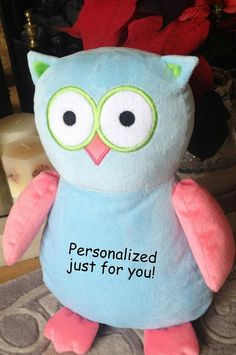 Baby gift embroidered monogrammed owl made in usa exclusively personalized baby gift unique baby gift by worldclassembroidery 3599 negle Gallery