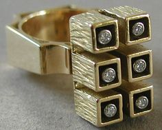 Striking 18k gold and diamond ring by Swiss trained Montreal based artist Walter Schluep, made in 1968.