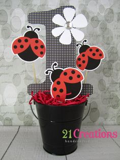 Ladybug Centerpiece Inserts  Bucket not by 21CreationsToo on Etsy