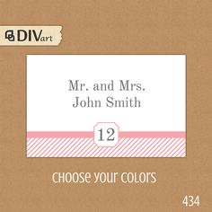 """PRINTABLE 3.5x2.25"""" Wedding Place Cards, Escort Cards, Food Labels, Gift Tags, Thank you Tags - grey, gray and pink or any color - by DIVart, $6.00"""