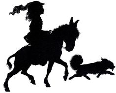 Free Silhouette Vectors, Girl riding on a Horse, with a  Dog