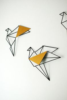 Set of 3 wall art, geometric birds,gold metal bird wall art, metal birds wall decor, home decor gift Metal Bird Wall Art, Metal Birds, Scrap Metal Art, Metal Wall Decor, Geometric Bird, Geometric Wall Art, Mural Wall Art, Diy Wall Art, Visual Art Lessons