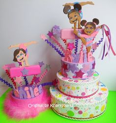 gymnastic birthday cake topper from www.kharygoart.com
