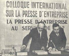 M. Rousselot et M. Hennart le 24 novembre 1967 lors du colloque international sur la presse d'entreprise.  (Premier numéro du journal ESJ de janvier 1968)