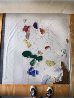 Daniella Mooney Printmaking woodblocks on press