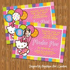 hello kitty birthday printables free | Custom Personalized Birthday Zebra Hello Kitty Invitation w Photo