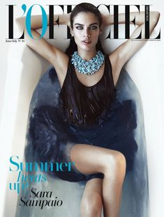 Sara Sampaio takes to the bathtub for L'Officiel. This looks like a raunchy take on Cate Blanchett amazing look at this year's Oscars.