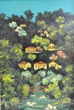 Casas na montanha, s./d. Francisco Oswald (Brasil, 1948-1985) óleo sobre madeira, 60 x 40 cm