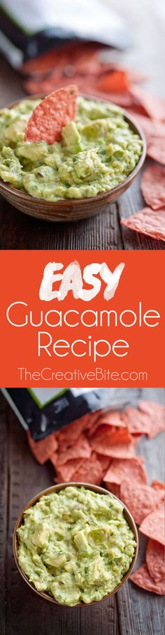 This Easy Guacamole Recipe comes together in minutes and is the perfect dip with salty chips or a healthy accompaniment for chicken, shrimp or pork! #Guacamole #Easy #Dip #Appetizer