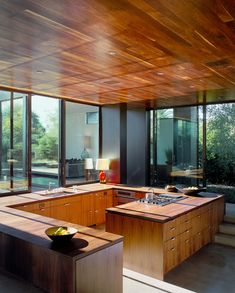 KITCHEN // wood + glass + no upper cabinets