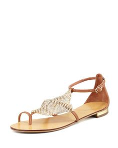 b47a2bfcd56510 Crystal-Mesh Toe-Ring Flat Sandal by Lola Cruz at Neiman Marcus. Nude