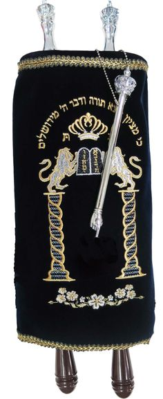 Sefer Torah Scroll With Navy Velvet Mantle On Torah Scroll