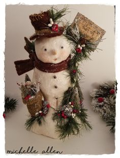 "VERY DETAILED Folk Art paper Clay holiday ""Baby it's COLD Outside"" Snowman doll w burlap santa bag by Michelle Allen / Raggedy Pants Designs by RaggedyPantsDesigns on Etsy"