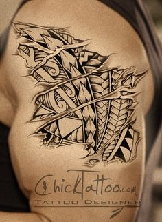 Badass Ripped Skin Polynesian Style Tattoo Design by ChickTattoo.com