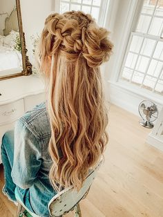 hair tutorial The Wiegands Double Half Up Braid Bringing HAIR tutorials Braided Hairstyles Updo, Down Hairstyles, Pretty Hairstyles, Hairstyle Ideas, Hair Ideas, School Hairstyles, Half Braided Hair, Prom Hairstyles For Long Hair Half Up, Drawing Hairstyles