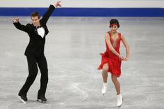 Russia's Elena Ilinykh and Nikita Katsalapov compete in the Ice Dance Short Dance at the European Figure Skating Championships in Budapest, Hungary, Wednesday, Jan. 15, 2014. (AP Photo/Darko Bandic)