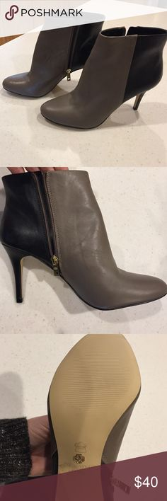 Ann Taylor ankle boots 3.5 inch heel never worn! Two tone taupe/black with gold accents. Never worn. Size 10 3.5 in heel Ann Taylor Shoes Ankle Boots & Booties