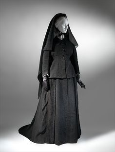 Mourning dress Date: ca. 1874 Culture: French Medium: silk, glass Dimensions: [no dimensions available] Credit Line: Gift of Mrs. W. H. Chamberlain, 1939 Accession Number: C.I.39.49.1a, b