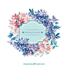 Watercolor wedding invitation in floral style Free Vector