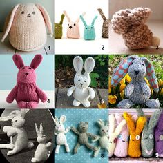 Gain access to 9 free knitted bunny patterns. Knit a bunny for a child or yourself. It& the perfect handmade Easter gift! Knitting Patterns For Dogs, Knitted Doll Patterns, Knitted Dolls, Knitting Stitches, Free Knitting, Knitting Projects, Baby Knitting, Crochet Patterns, Knitting Toys