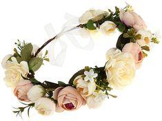 DDazzling Women Flower Headband Wreath Crown Floral Wedding Garland Wedding Festivals Photo Props (Champagne) at Amazon Women's Clothing store:
