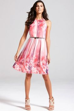 Little Mistress Pink Floral Fit and Flare Dress