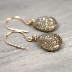 gold sparkly teardrop earrings on 14k gold fill by tinygalaxies, $21.00