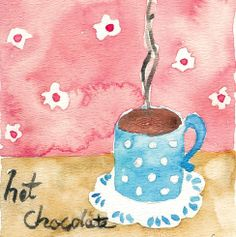Love hot Chocolate Print of original watercolor painting  soft pastels colors war cozy shabby chic,limited edition. $21.00, via Etsy.