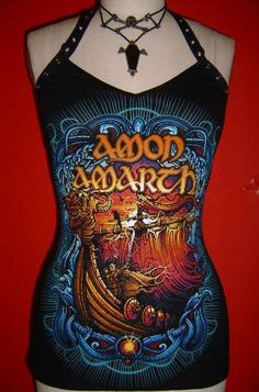 AMON AMARTH diy halter top viking death metal door SpookyOwlBootique, $39.00