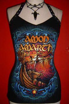 AMON AMARTH diy halter top viking death metal door SpookyOwlBootique, $39.00