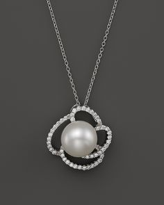 Cultured freshwater pearl and diamond pendant necklace in 18k white cultured freshwater pearl pendant necklace with diamonds in 14k white gold 18 bloomingdales aloadofball Images
