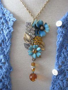 Unique Vintage Jewelry Assemblage Flower Garden Necklace OOAK Cluster Collage  #PendantNecklace