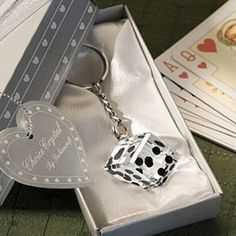 For a perfectly themed favor for your Las Vegas theme guests, this roll the dice key chain makes for a practical idea. The crystal die key chain is packaged in an elegant silver gift box wrapped in a white ribbon, and includes a heart design thank you tag. Wedding Favours To Make, Wedding Favors Unlimited, Homemade Wedding Favors, Inexpensive Wedding Favors, Wedding Shower Favors, Unique Wedding Favors, Baby Shower Favors, Wedding Gifts, Bridal Shower