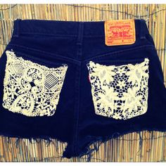 High rise shorts with lace