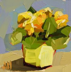 Yellow Primroses Painting | angela moulton's painting a day