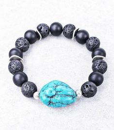 《《 OIL DIFFUSER COLLECTION 》》   ~~THE DETAILS~~  This handmade Aromatherapy Essential Oil Diffuser Bracelet is designed with smooth polished Black Onyx Gemstones, rich Black Lava Stone,  shiny Silver Wavy Spacers; finished with an exquisitely detailed Turquoise Nugget Gemstone!   ~~GEMSTONE Aromatherapy Jewelry, Aromatherapy Oils, Birthstone Charms, Stone Bracelet, Oil Diffuser, Stone Beads, Lava, Just For You, Gemstones