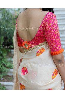 buy online Cream With Pink colour designer heavy party wear fancy fabric saree with Broket designer blouse at joshindia Cotton Sarees Handloom, Cotton Saree Blouse, Saree Blouse Patterns, Art Silk Sarees, Fancy Sarees, Party Wear Sarees, Marathi Bride, Simple Sarees, Ethnic Sarees